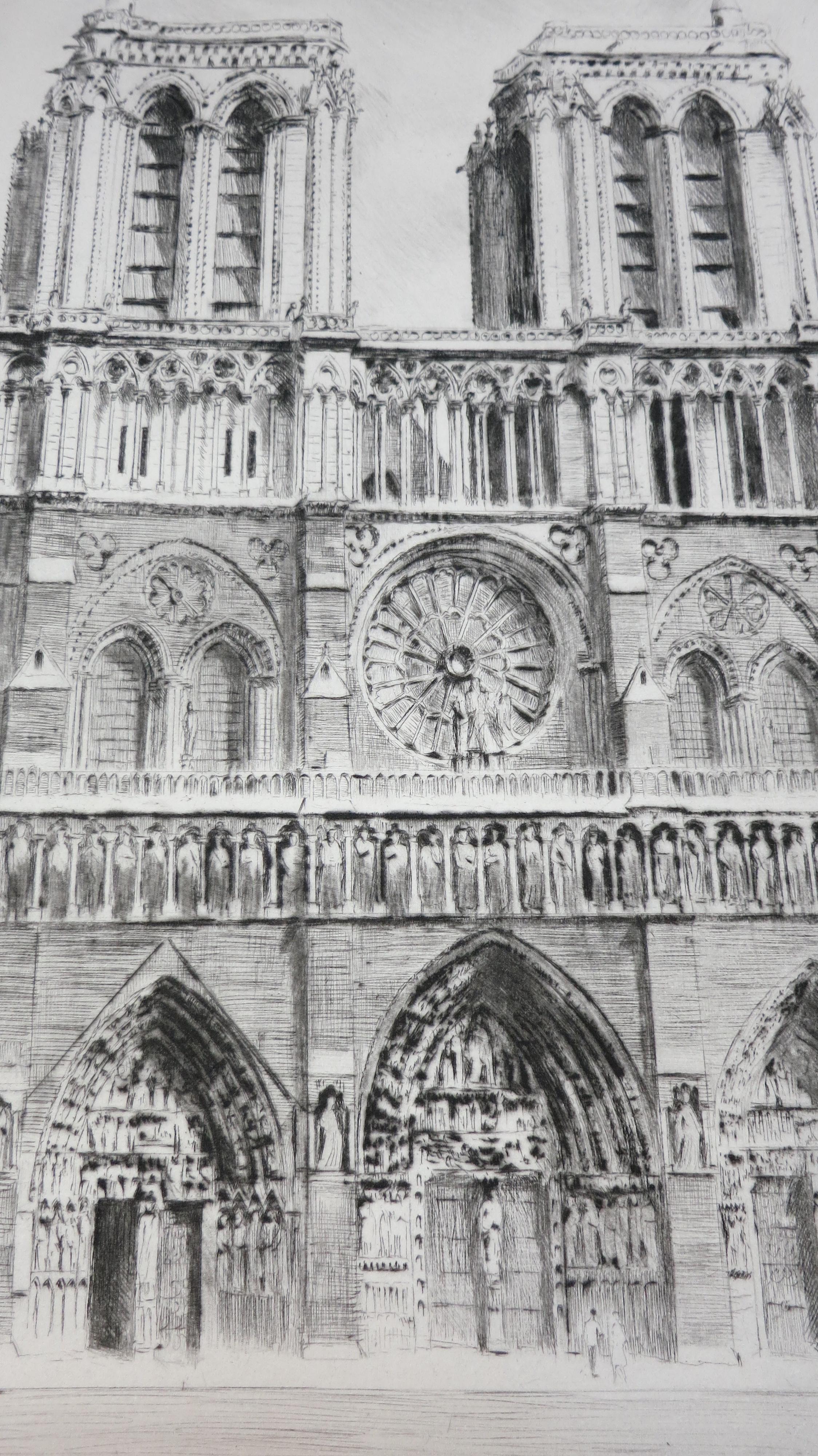 Notre Dame de Paris Pointes sèches de Charles Samson