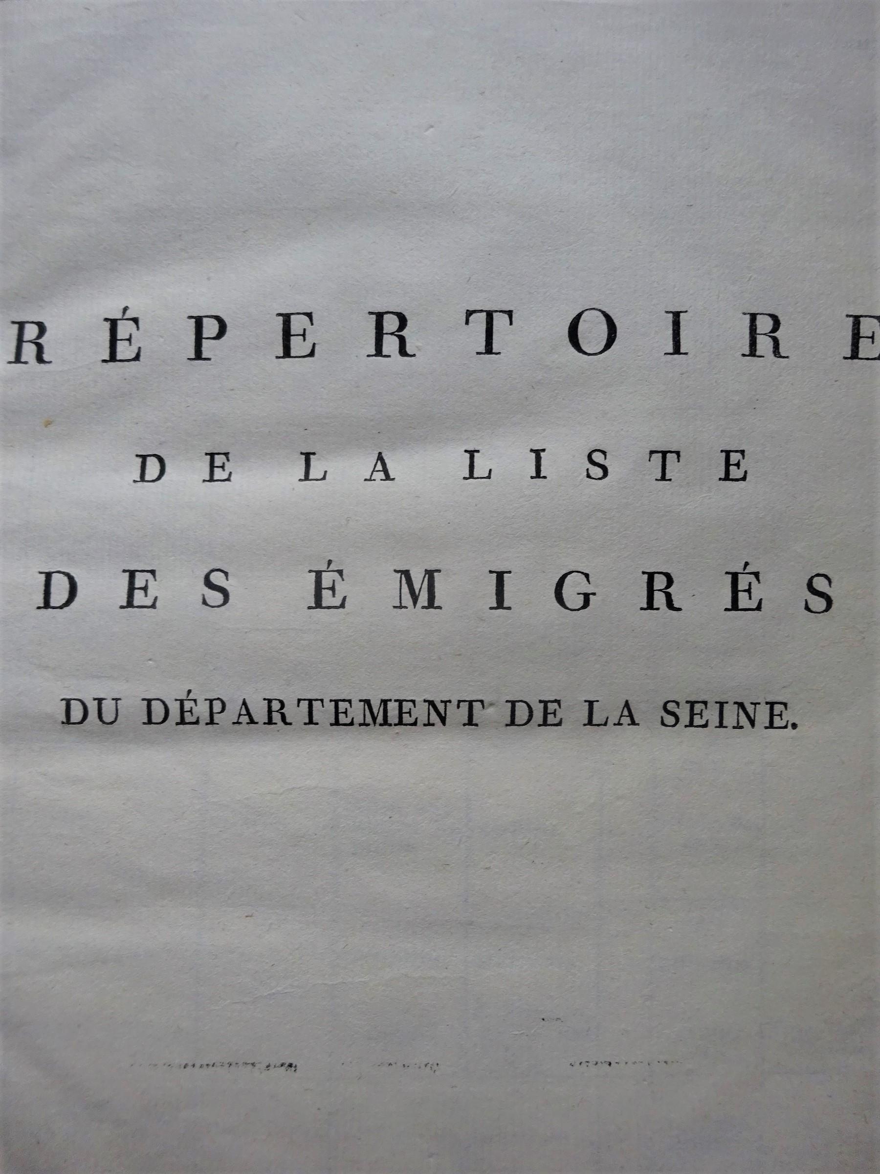 Répertoire de la liste des Emigrés du Département de la Seine