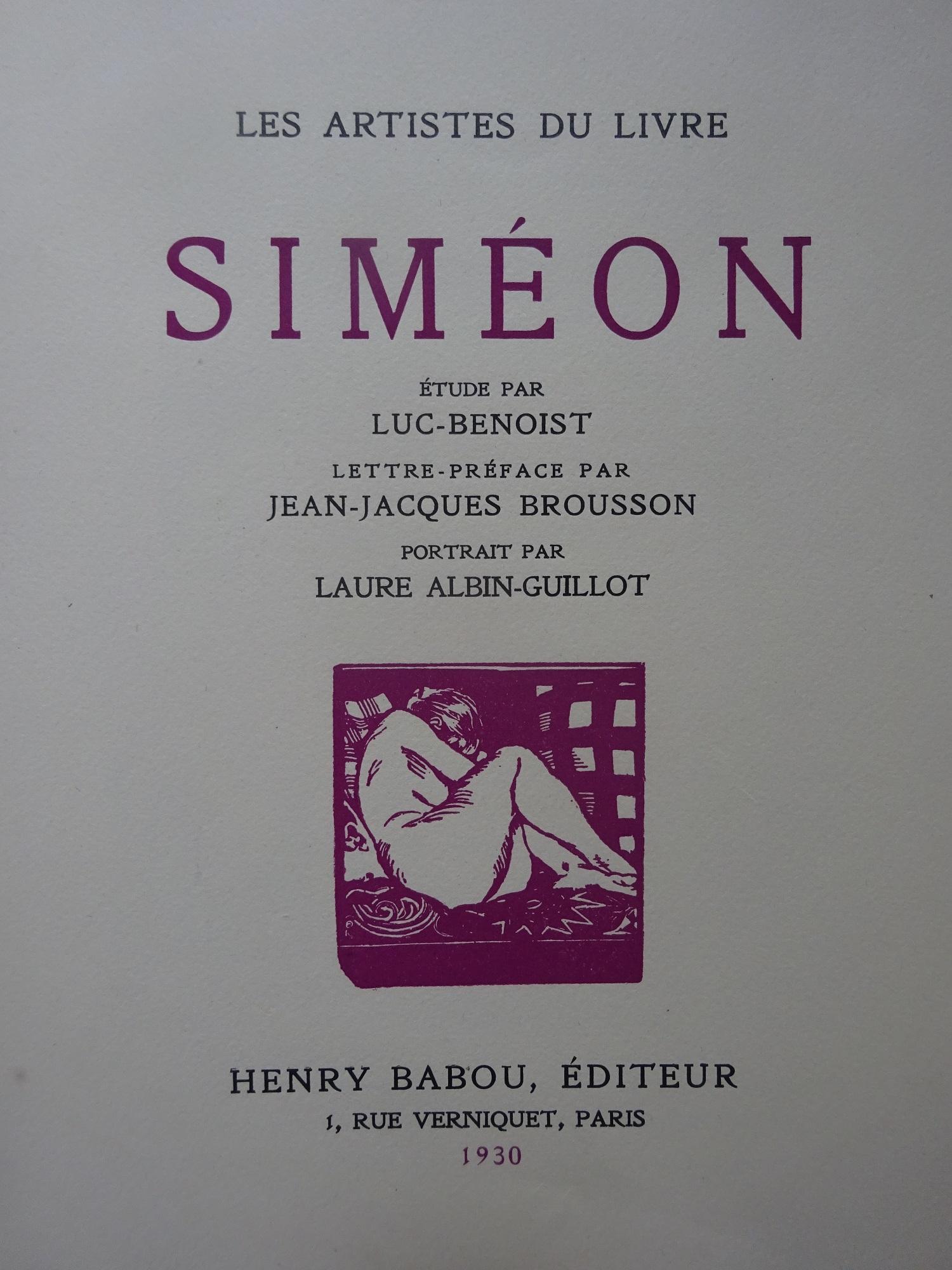 Les Artistes du livre. Siméon