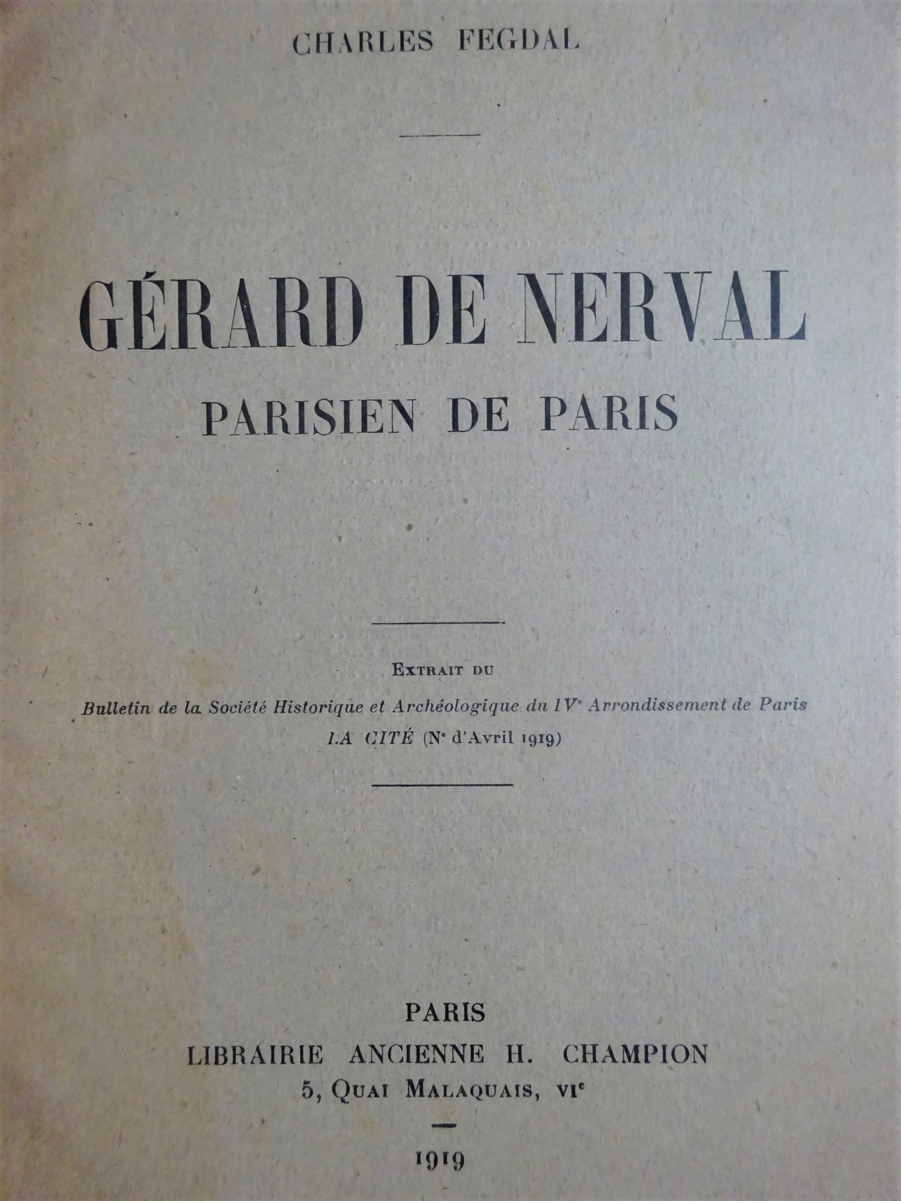 Gérard de Nerval Parisien de Paris