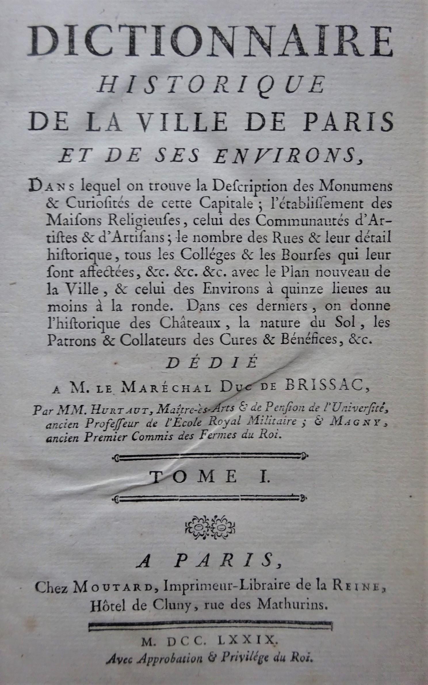 Dictionnaire historique de la ville de Paris et de ses environs