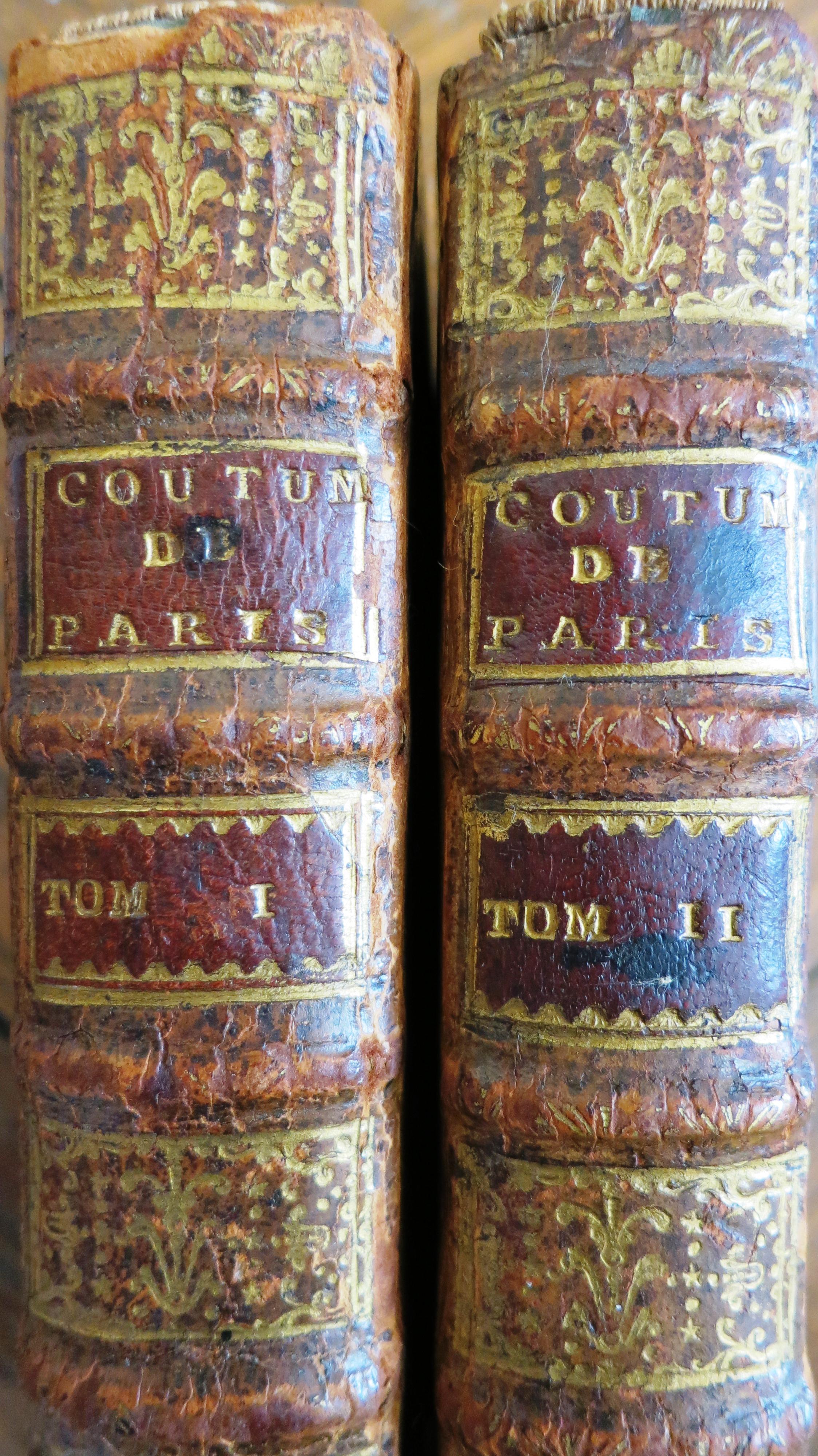 Coutumes de la Prevosté et Vicomté de Paris. Edition 1709.
