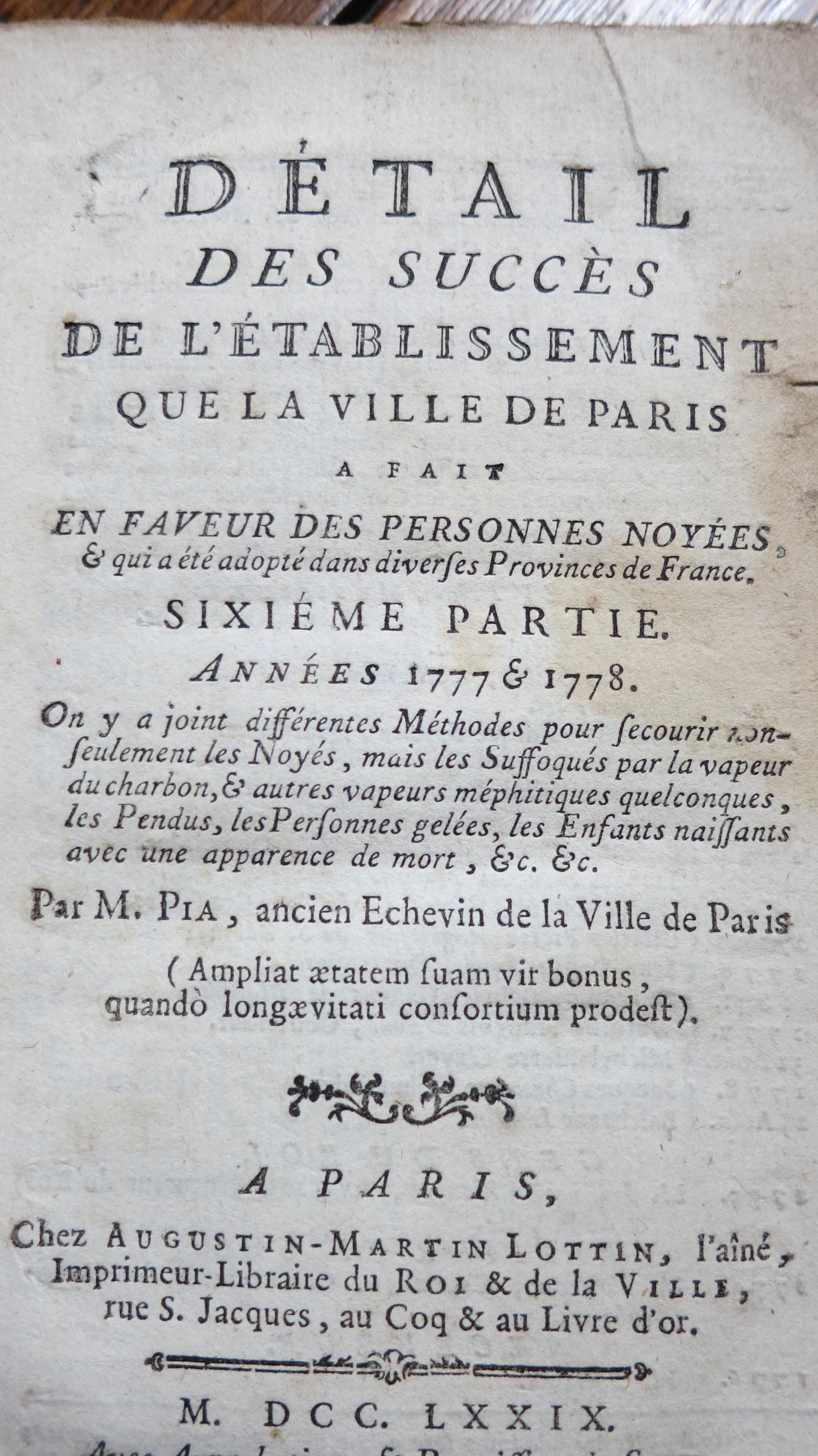 Détail des succès de l'établissement que la ville de Paris a fait en faveur des personnes noyées