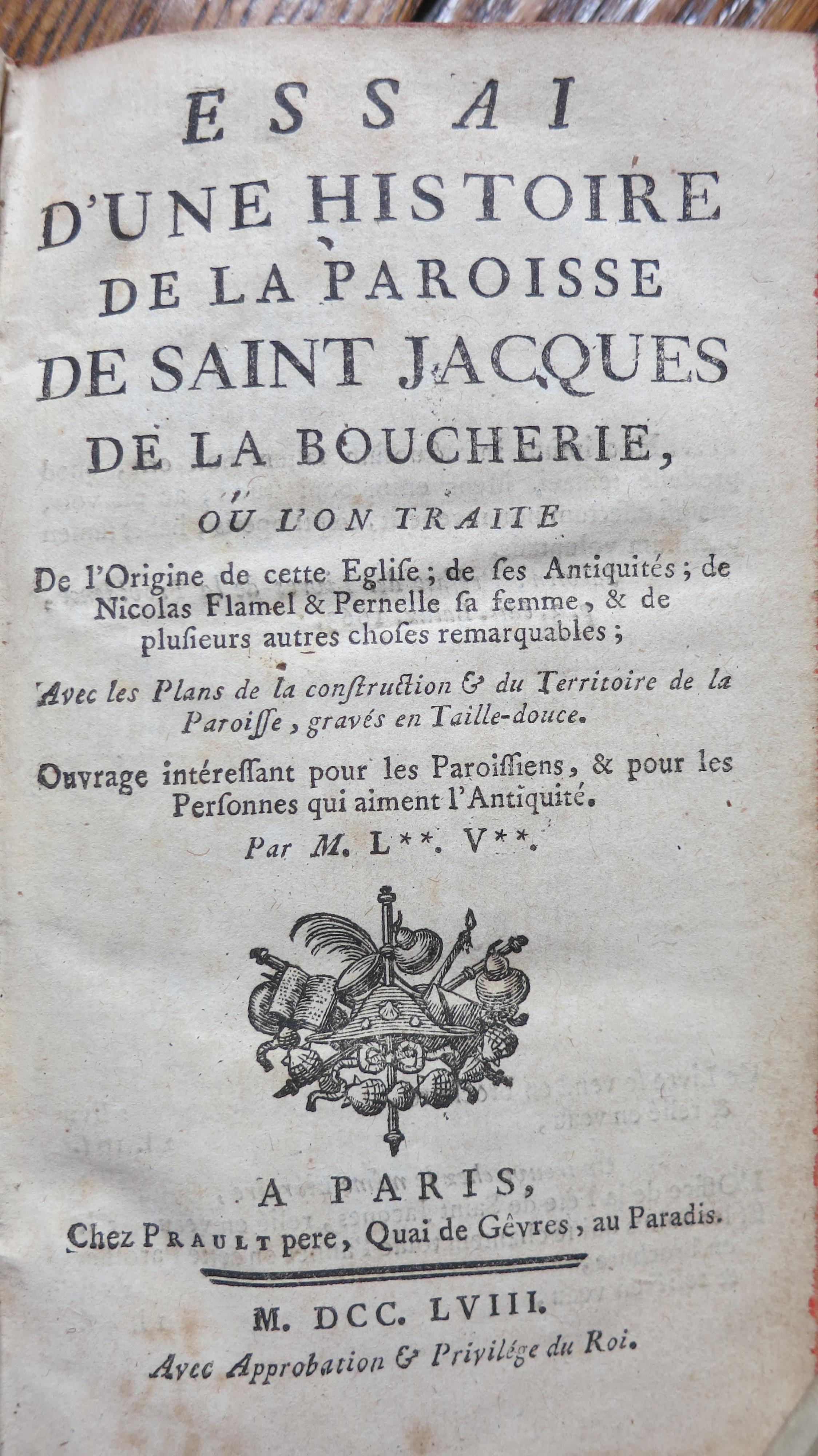 Essai d'une histoire de la paroisse de Saint Jacques de la Boucherie