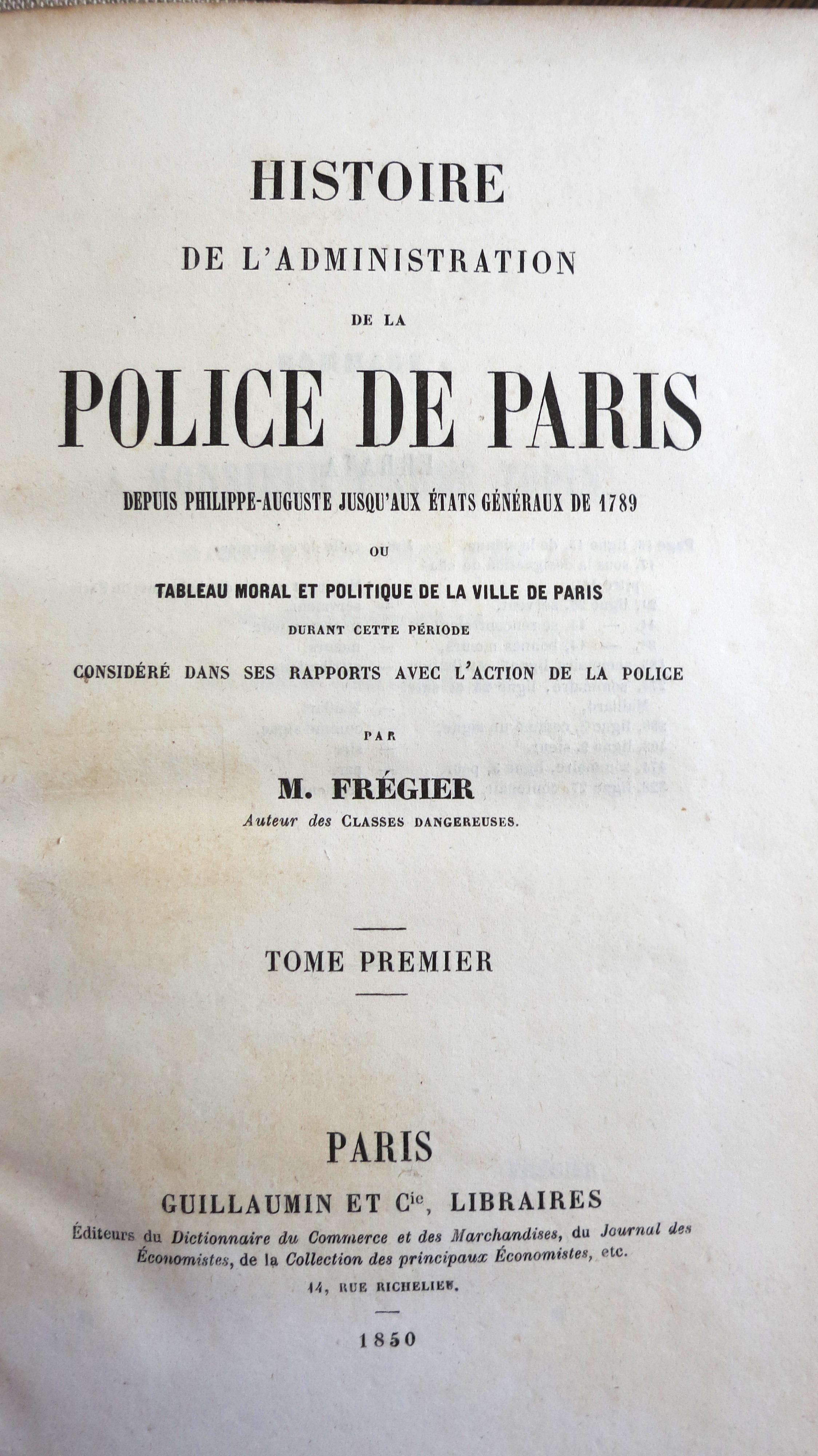 Histoire de l'administration de la police de Paris