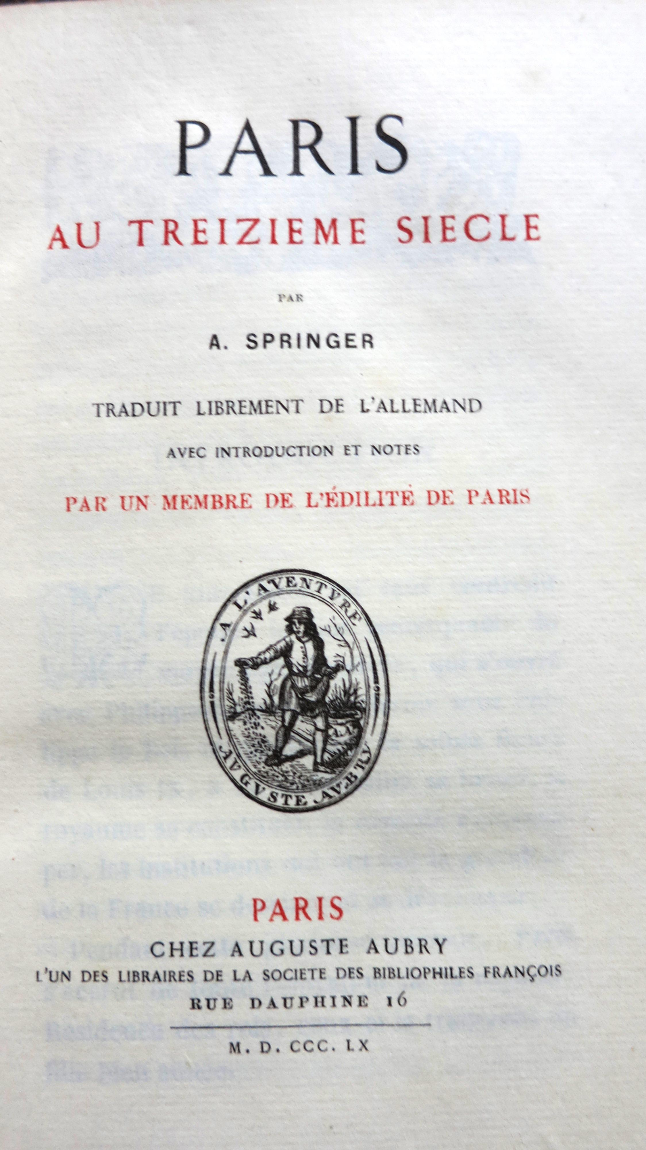 Paris au treizième siècle