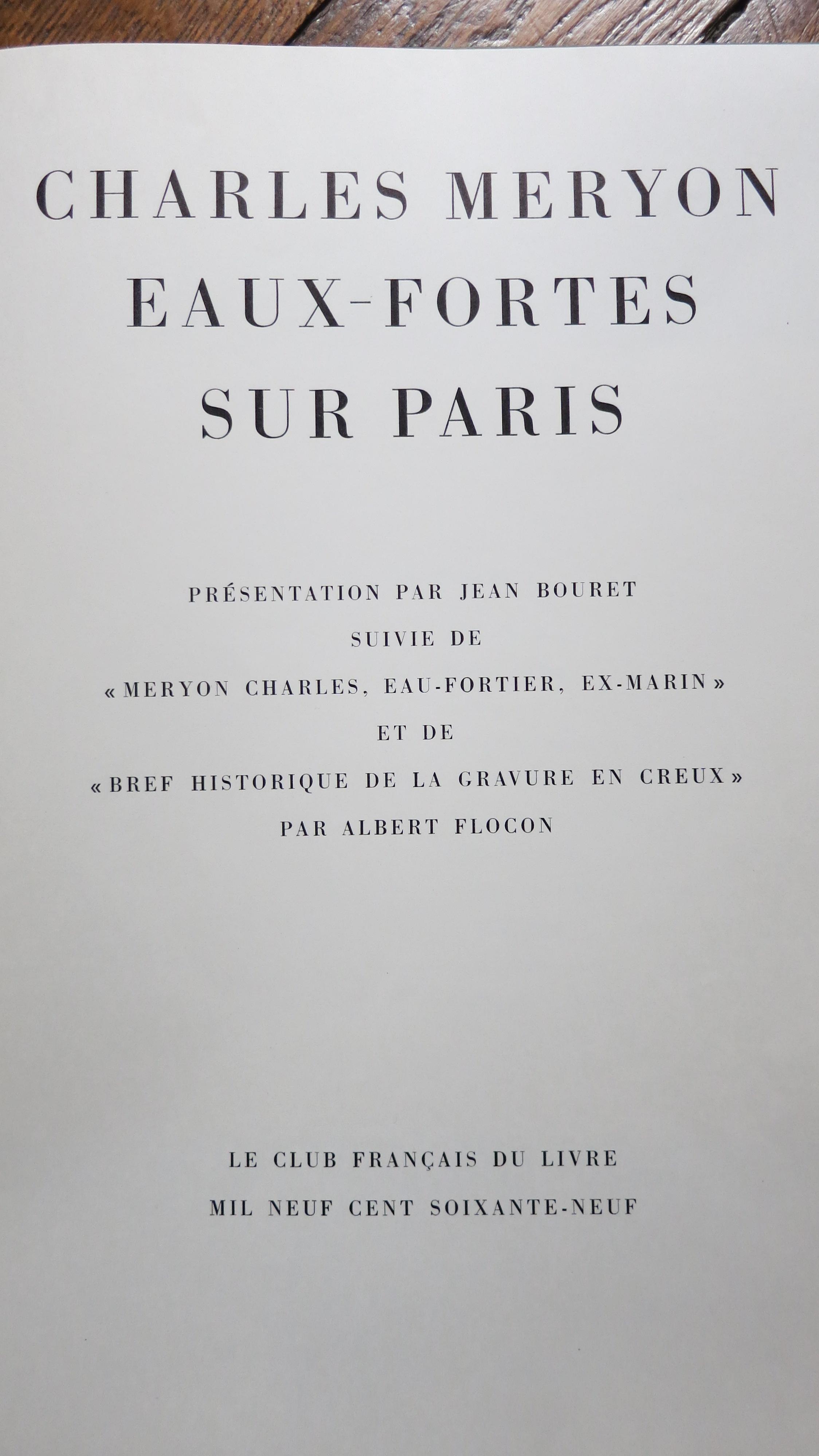 Charles Meryon Eaux fortes sur Paris
