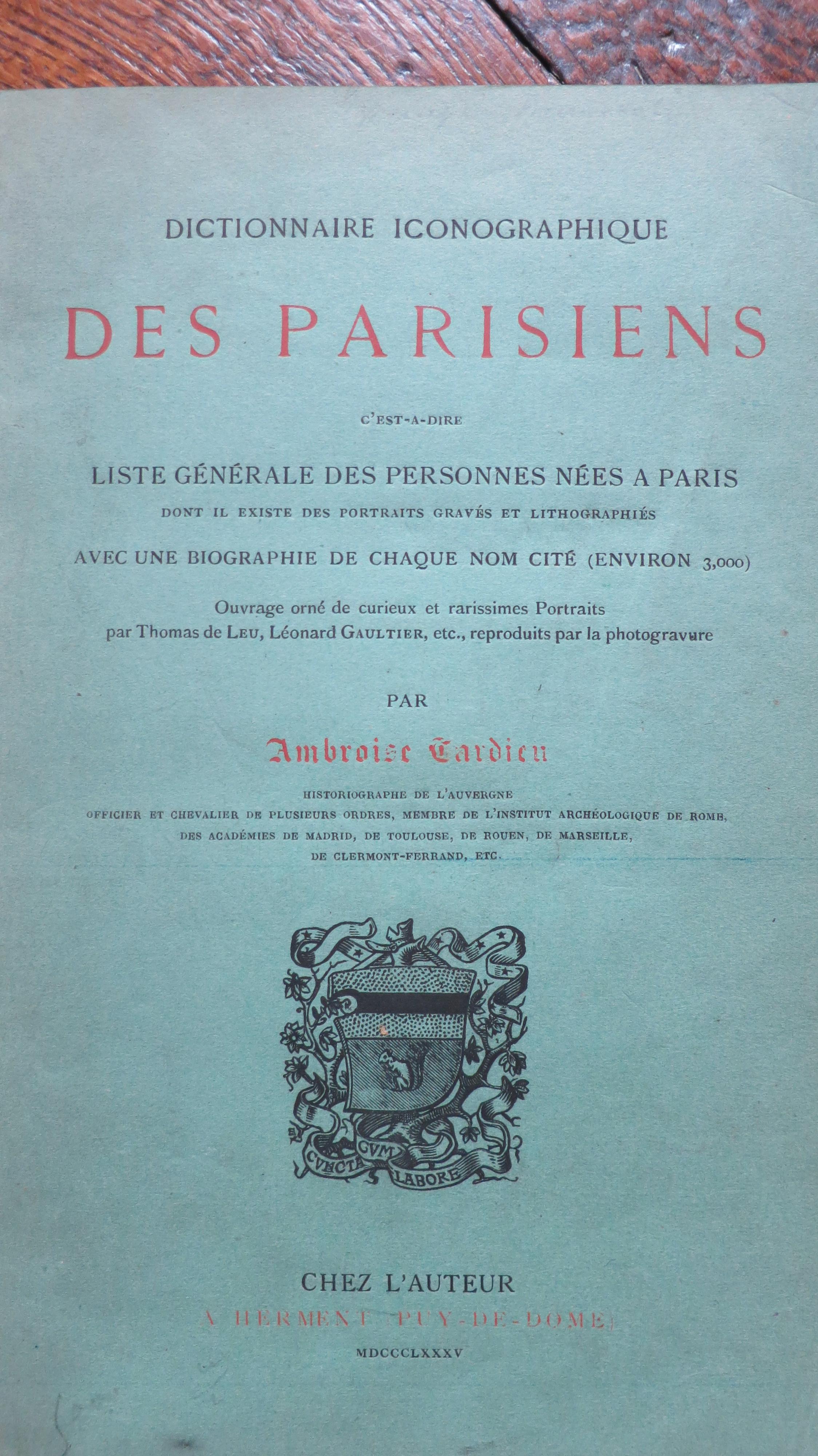 Dictionnaire iconographique des parisiens