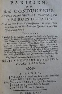 Le géographe parisien ou le conducteur chronologique et historique des rues de Paris