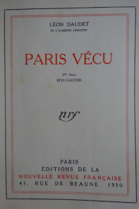 Paris vécu. Edition originale.
