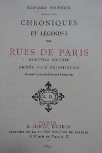 Chroniques et légendes des rues de Paris. 1893