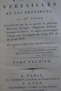 Paris, Versailles et les provinces au 18e siècle.