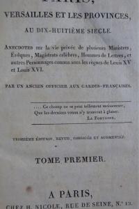 Paris Versailles et les provinces au dix-huitième siècle. 3 volumes.