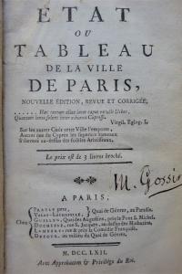 Etat ou Tableau de la Ville de Paris. Nouvelle édition