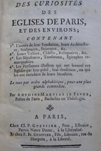 Description des curiosités des églises de Paris et des environs Reliure d'époque