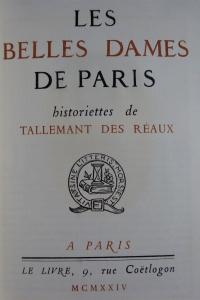 Les belles dames de Paris.Historiettes.