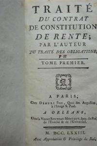Traité du contrat de constitution de rente Traité du contrat de change