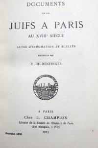 Documents sur les Juifs à Paris au XVIIIe siècle