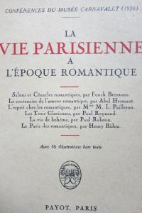 Conférence du musée Carnavalet La vie parisienne à l'époque romantique