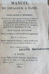 Manuel du voyageur à Paris 1810