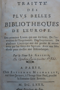 Traitte des plus belles bibliothèques de l'Europe